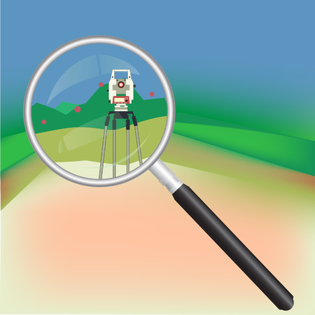 Geodesy and magnifier Illustration