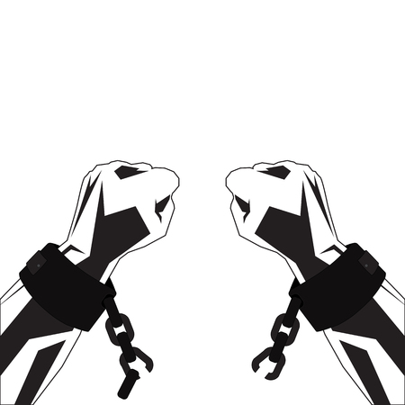 Hands in shackles tear chains. Vector sketch in black-white tones.