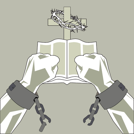 The Bible breaks the shackles of man. The hands of man break the chains on the background of the cross and the Bible.