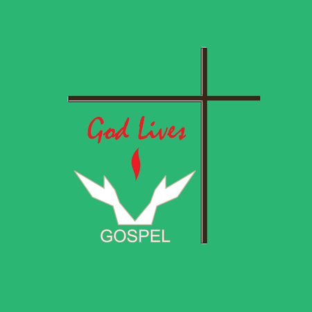 Christian symbol pointing to the salvation through the gospel. Christian cross and symbol in the form of hands.