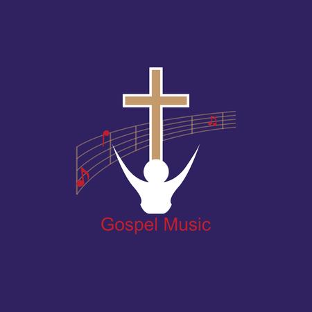 福音派の音楽を象徴する音楽のロゴ。キリスト教音楽に手を差し伸べる音楽スタジオ。