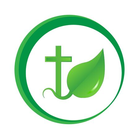 orthodoxy: Vector image of a Christian cross and sprout leaves. Logo on white background in green color.