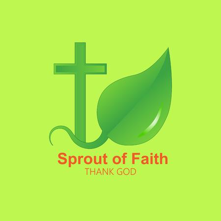 기독교 십자가의 벡터 이미지 및 새싹 나뭇잎. 녹색 색상에서 흰색 배경에 로고입니다.