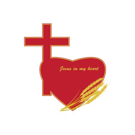 기독교 십자가 붉은 색으로 마음. 로고의 배경에 밀의 귀.