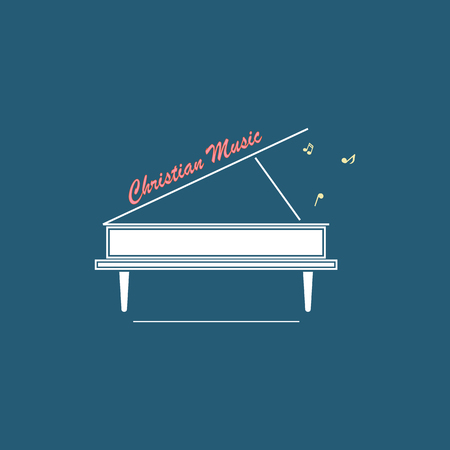 echoes: Christian logo with a picture of a white grand piano and an inscription symbolizing Christian music.