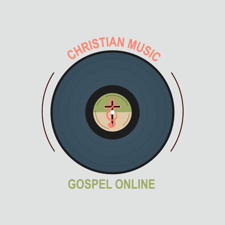 echoes: Vinyl record with Christian logo in the middle. Symbolizes a Christian music Studio. Cross and treble clef in the middle of a vinyl record.