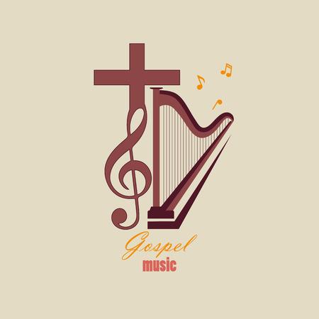 복음주의 음악을 상징하는 뮤지컬 로고. 기독교 음악에 손을 뻗치는 음악 스튜디오의 경우 일러스트