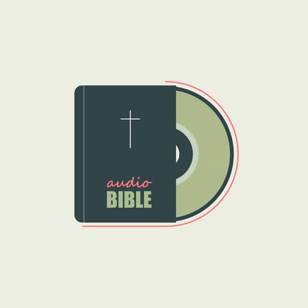 聖書およびオーディオ ディスクは、キリスト教の信仰を象徴します。