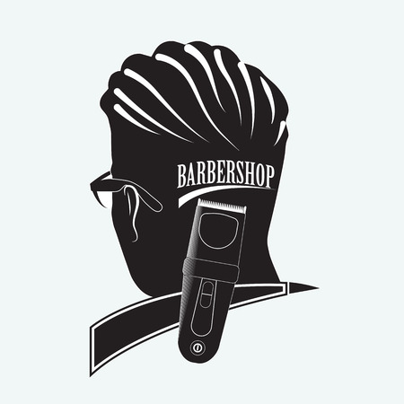 Logo for the Barber shop. Silhouette of man in glasses with an inscription on the back of the head. Clipper symbolizes hairdressing