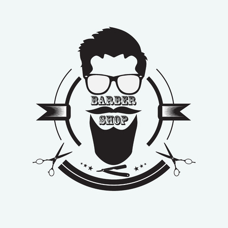 The mans face with a beard symbolizing a Barber shop. Items of hairdressing equipment. Illustration