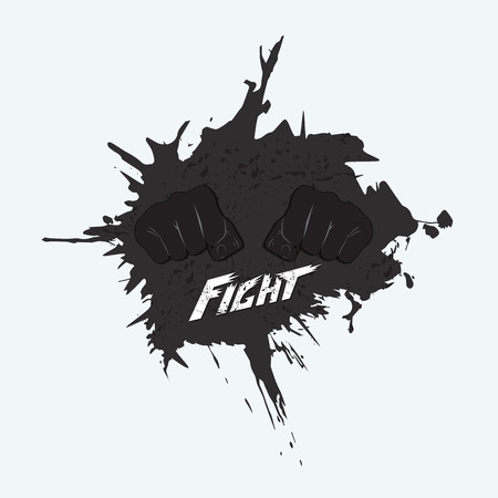 Logo for martial arts. Two fists in the center of the blot and a signature - a fight.