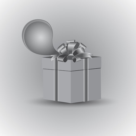 A box with a gift, tied with a festive bow. Icon for text message. Vector drawing is executed in gray color. Standard-Bild - 92699395
