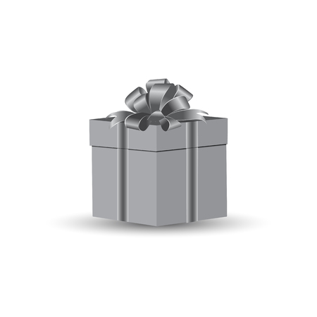 Box with a gift, tied with a holiday bow on a white background. Vector drawing is executed in gray color.