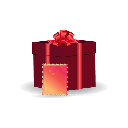 Red box with a gift tied with ribbon with a bow. Colorful greeting card. Vector drawing on white background.