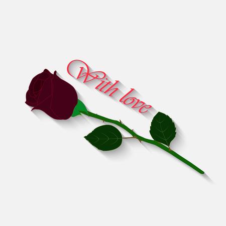 Rose mit der Aufschrift auf einem weißen Hintergrund . Eine Burgunder Rose mit einem grünen Laub und Blättern Standard-Bild - 92721673