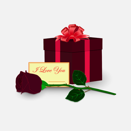 Box with a gift tied up ribbon with a bow. Red rose with a card in the foreground. A set of gifts.