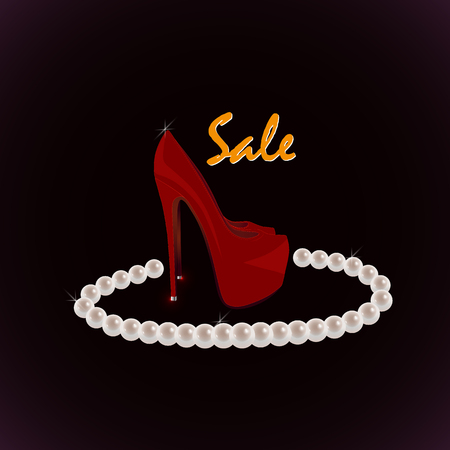 Red shoes and a necklace of pearls on a claret background. Sale of expensive female valuables. Bright beautiful vector illustration. Çizim