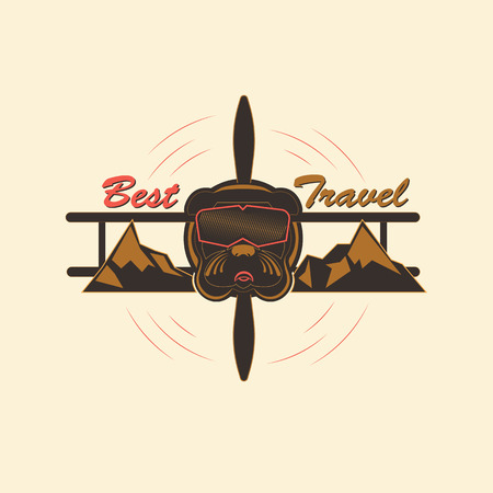 Logo indicating extreme rest and travel. Bulldog in the form of an extreme pilot, in a mountainous area. Vector illustration in several color shades. Illustration