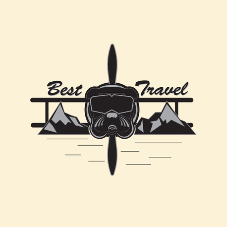 illustration indicating extreme rest and travel. Bulldog in the form of an extreme pilot, in a mountainous area. Vector illustration in gray tones.