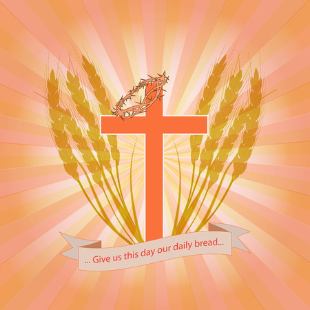 Christian cross with a crown of thorns in wheat ears. The Christian symbolizes the salvation of man through Jesus Christ. Bright vector illustration in several color shades. Standard-Bild - 93507169