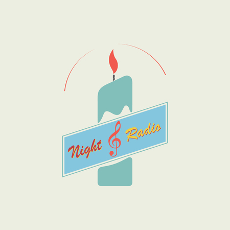 A burning candle and a treble clef symbolize the logo of the radio station. Vector illustration is made in a flat style. Standard-Bild - 93820967