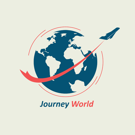 The plane flies around the globe, leaving behind a red line. The logo symbolizes the travel company. Standard-Bild - 93988716