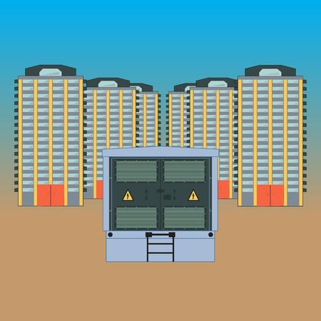 Elektrischer Transformator für das neue errichteten Gebiet . Im Vordergrund ist ein Umspannwerk in der Stadt Hintergrund . Standard-Bild - 95018241