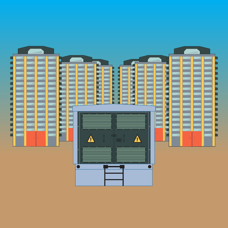 Electric transformer for the new built area. In the foreground there is a transformer electric station, in the background residential buildings stand one after another. Illustration