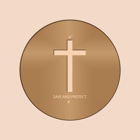 Logo with the Christian cross in the circle. Religious symbols speak to us about the sacrifice of Jesus Christ.