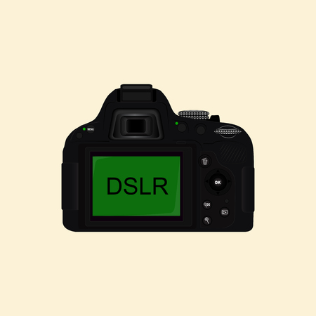 Vector image of a mirror camera. Black camera, rear view. Camera for taking photos and videos. Standard-Bild - 95261155