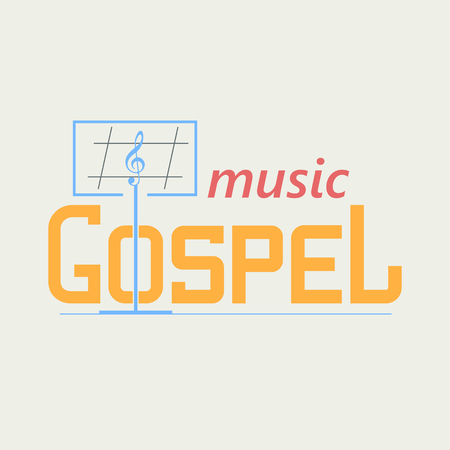 Logo symbolizing the gospel music. Music stand and the treble clef in the text. Vector logo in a flat style.