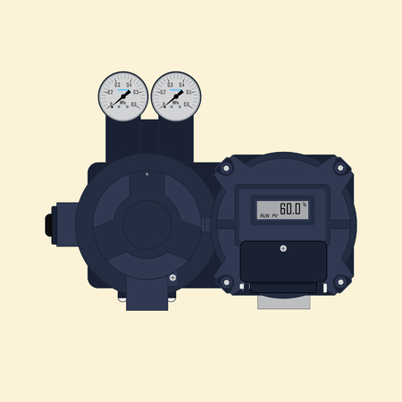 Vector illustration of a multi-turn actuator for mechanization and automation of pipeline fittings. For industrial sectors.