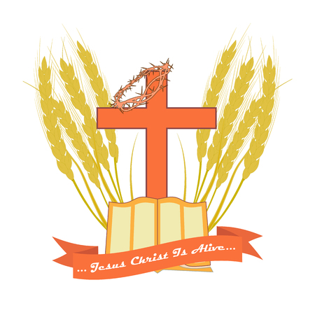 The Bible and the Christian cross in edging made from wheat ears. Vector logo for Christian churches. Standard-Bild - 95951642