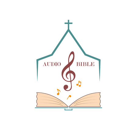 Christian logo for audio studios, preaching the word of God. Vector emblem of the treble clef and the Bible under the roof of the church. Standard-Bild - 96210442
