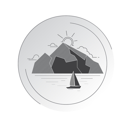 Seascape, mountains and a sailboat in a round edging. Vector illustration in a linear style. Standard-Bild - 96805497