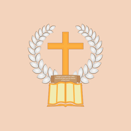 Laurel leaf surrounds the Christian cross. The Bible with a commemorative plaque lies at the cross. Logo on the Christian theme.