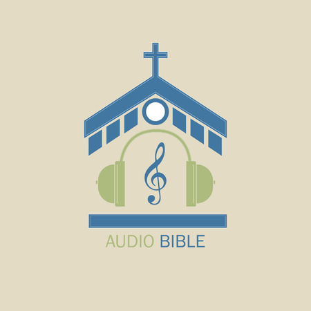 Christian vector logo for music radio stations. In the center of the church, headphones and a treble clef symbolize the audio Bible. Standard-Bild - 97178051