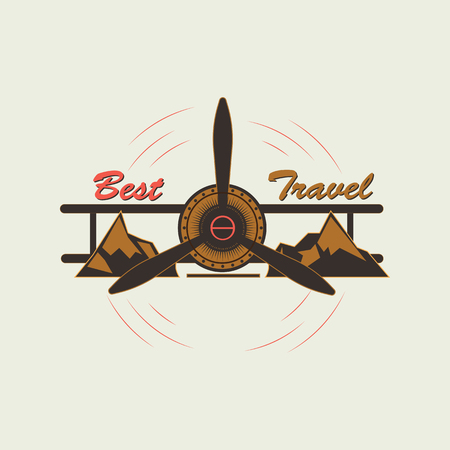 Logo indicating extreme rest and travel. Vector logo of an old airplane between the mountains in retro style. Standard-Bild - 97178056