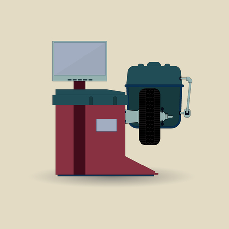 Balancing machine for cars. Equipment for car repair. Vector illustration of tire fitting equipment. It is executed in the minimal color scale in a flat style. Standard-Bild - 97554377