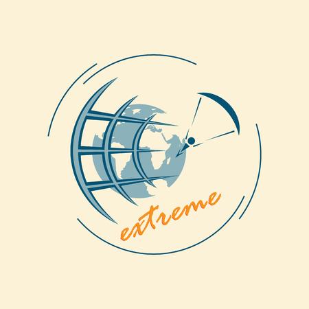 Emblem of extreme sports. Extreme tourism around the world.
