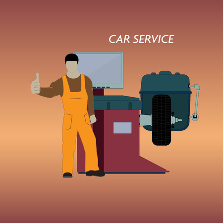 Vector illustration of a car service for balancing car wheels. The worker stands on the background of tire fitting equipment. Vectores