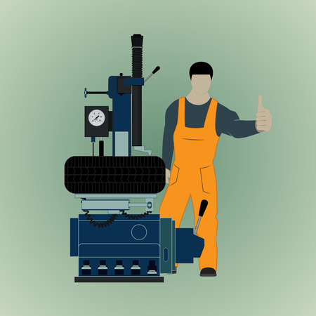 Vector illustration of a car service for balancing car wheels. The worker stands on the background of tire fitting equipment. Ilustracja