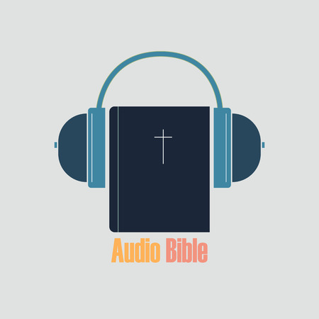 Audio Bible for listening on electronic media in headphones. Bible and audio headphones on a white background. Banco de Imagens - 99932955