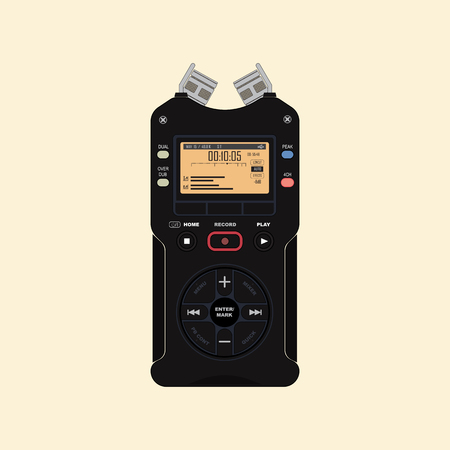 Audio recorder for recording and working with sound. Device for recording and creating sound effects. Standard-Bild - 100852713