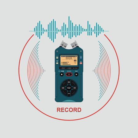Audio recorder for recording and working with sound. Device for recording and creating sound effects. The image equalizer on the background of the audio recorder.