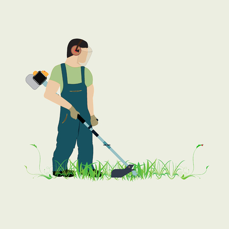 A man with a trimmer cuts grass on a white background. A man in overalls cuts grass with a trimmer. Worker cutting grass in garden with the weed trimmer. Stock Illustratie