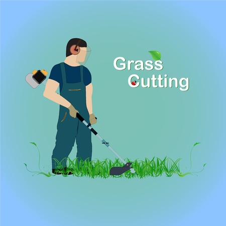 A man with a trimmer cuts grass on a white background. A man in overalls cuts grass with a trimmer. Worker cutting grass in garden with the weed trimmer. Ilustrace