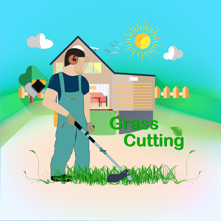 A man with a trimmer cuts grass on a white background. A man in overalls cuts grass with a trimmer. Worker cutting grass in garden with the weed trimmer. Standard-Bild - 103100907