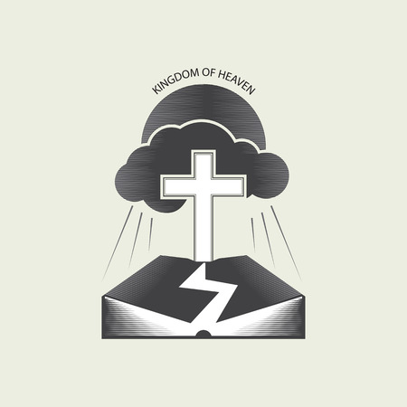 Religious Christian logo with the image of the Bible, the sun, clouds, rays and the Christian cross. Vector illustration is drawn in gray tones. Ilustracja
