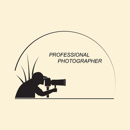 Silhouette of a man with a camera on nature. Emblem for professional photographers on a white background.